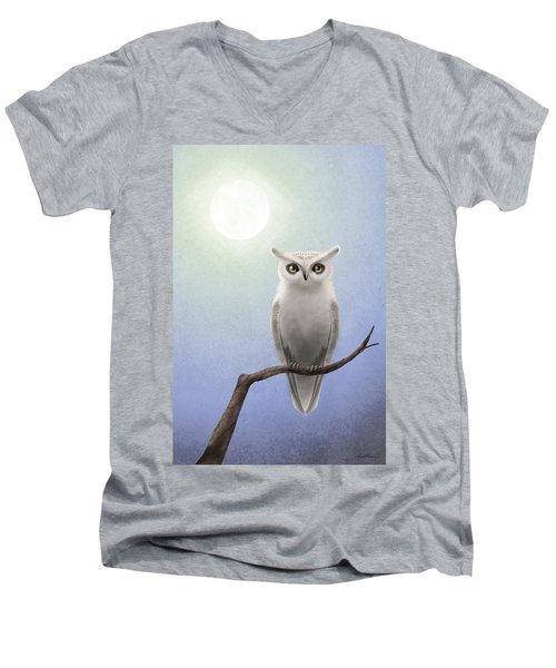 White Owl Men's V-Neck T-Shirt