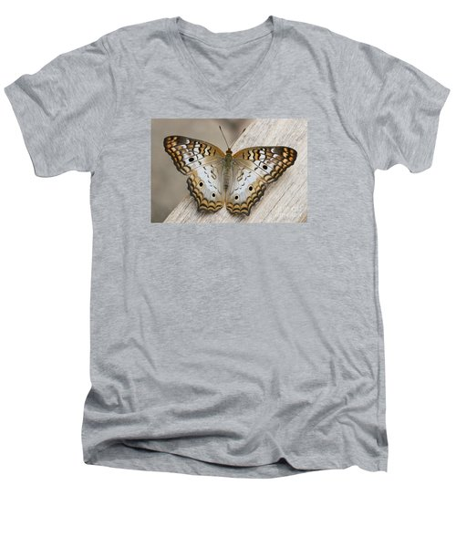 White Peacock Butterfly Men's V-Neck T-Shirt by Judy Whitton