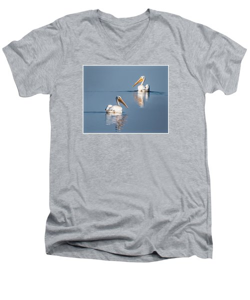 Men's V-Neck T-Shirt featuring the photograph White Pelicans by Patti Deters
