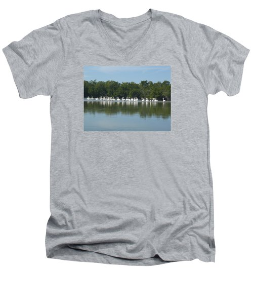 Men's V-Neck T-Shirt featuring the photograph White Pelicans by Robert Nickologianis