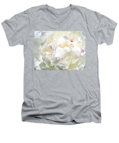 White Peony Men's V-Neck T-Shirt by Will Borden