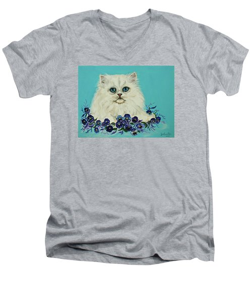 Men's V-Neck T-Shirt featuring the painting White Persian In Pansy Patch Original Forsale by Bob and Nadine Johnston