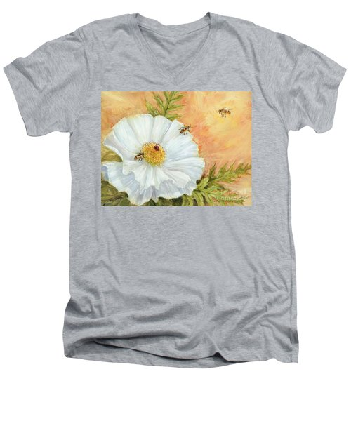 White Poppy And Bees Men's V-Neck T-Shirt