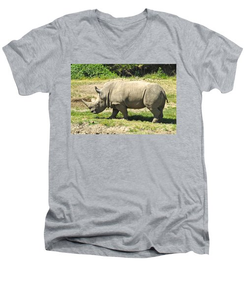 White Rhinoceros Grazing Men's V-Neck T-Shirt by CML Brown