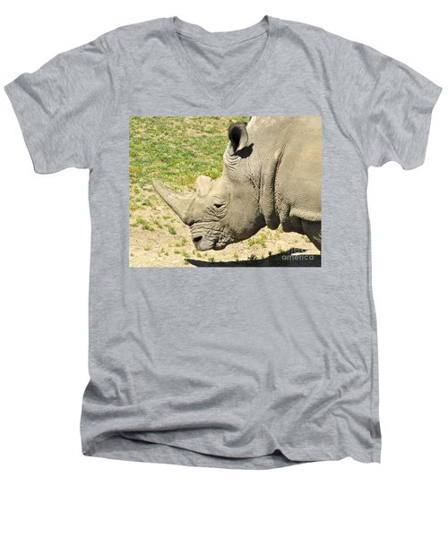 White Rhinoceros Portrait Men's V-Neck T-Shirt by CML Brown