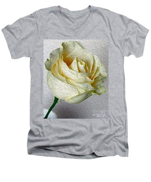 Men's V-Neck T-Shirt featuring the photograph White Rose In Oil Effect by Nina Silver