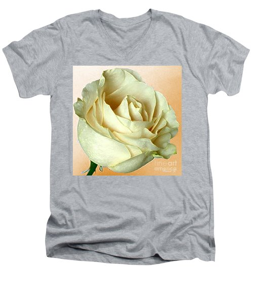 Men's V-Neck T-Shirt featuring the photograph White Rose On Sepia by Nina Silver