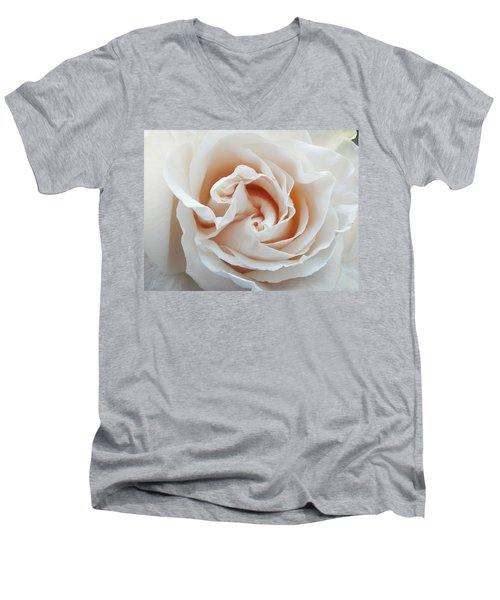 Men's V-Neck T-Shirt featuring the photograph White Rose by Tiffany Erdman
