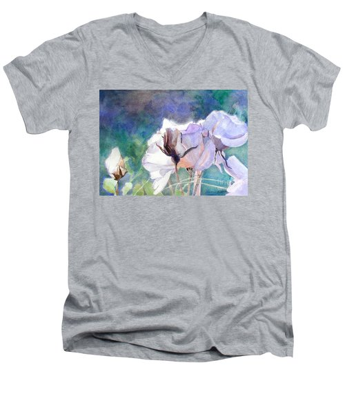Men's V-Neck T-Shirt featuring the painting White Roses In The Shade by Greta Corens
