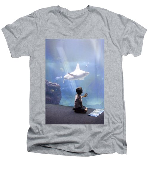 White Shark And Young Boy Men's V-Neck T-Shirt by David Smith