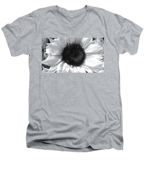 Men's V-Neck T-Shirt featuring the photograph White Sunflower by Jeannie Rhode