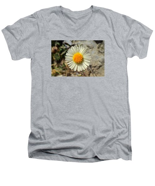 White Wild Flower Men's V-Neck T-Shirt