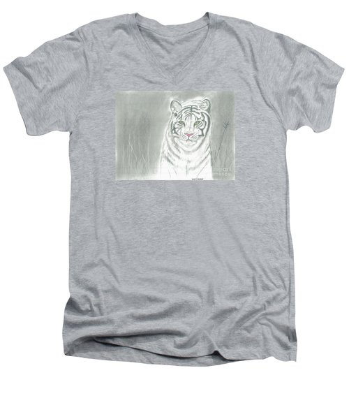 Men's V-Neck T-Shirt featuring the pastel White Tiger by David Jackson