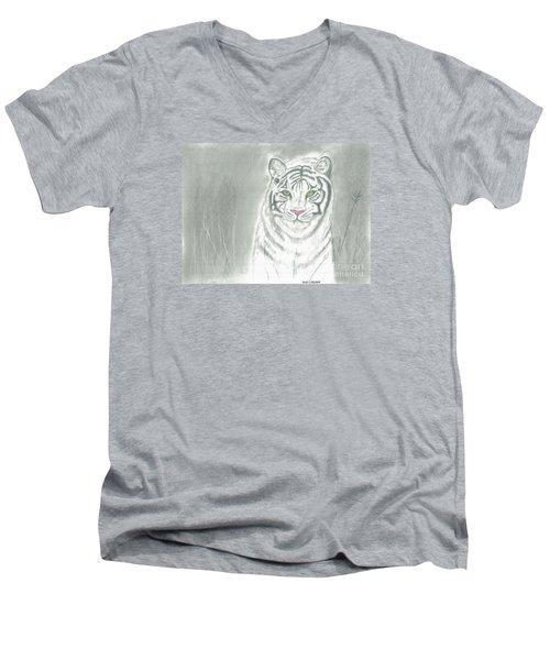 White Tiger Men's V-Neck T-Shirt by David Jackson