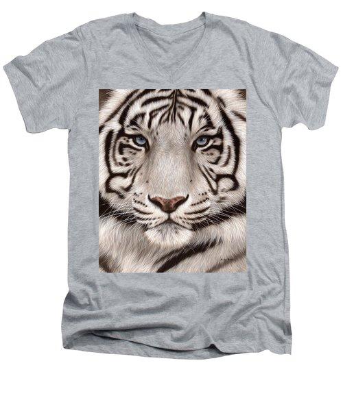 White Tiger Painting Men's V-Neck T-Shirt
