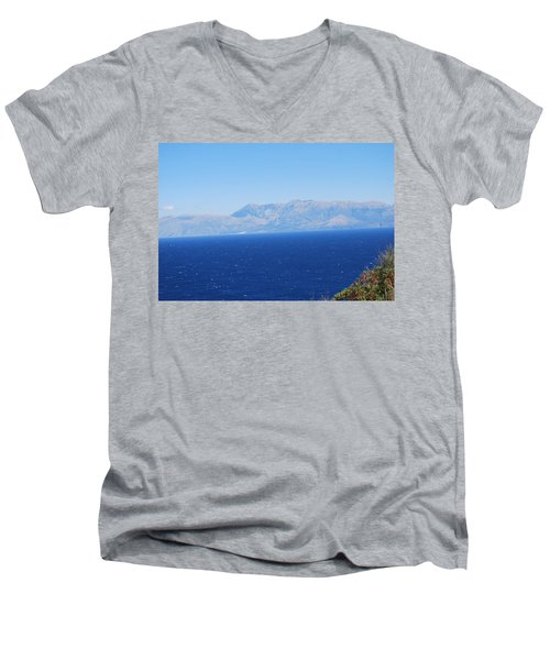 Men's V-Neck T-Shirt featuring the photograph White Trail by George Katechis