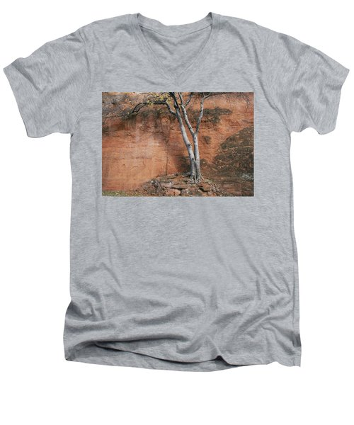 White Tree And Red Rock Face Men's V-Neck T-Shirt