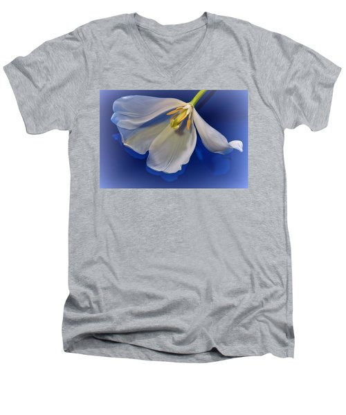 White Tulip On Blue Men's V-Neck T-Shirt