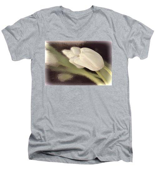 White Tulip Reflected In Misty Water Men's V-Neck T-Shirt
