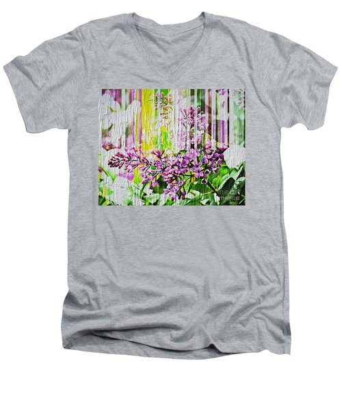 Men's V-Neck T-Shirt featuring the photograph White Washed Painted Lilac by Judy Palkimas