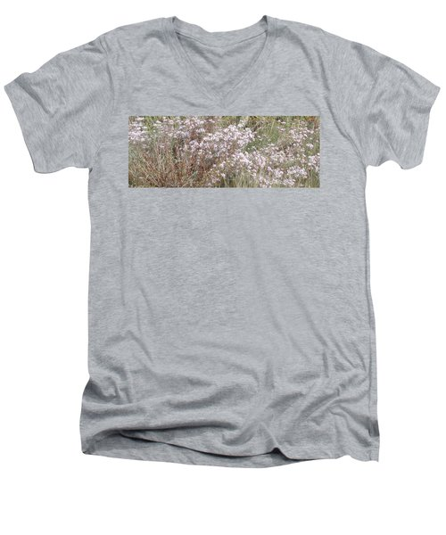 Men's V-Neck T-Shirt featuring the photograph White Wild Flowers by Fortunate Findings Shirley Dickerson