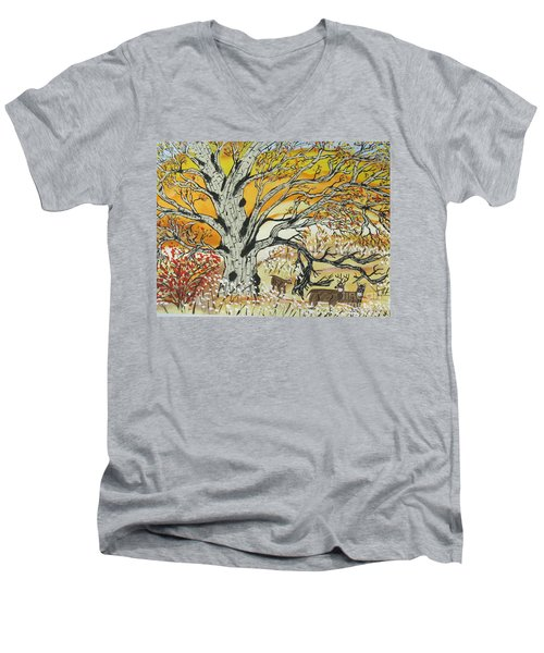 Men's V-Neck T-Shirt featuring the painting Whitetails And White Oak Tree by Jeffrey Koss
