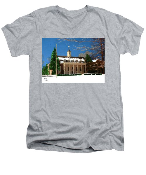 Whittle Hall In The Winter Men's V-Neck T-Shirt by Bruce Nutting