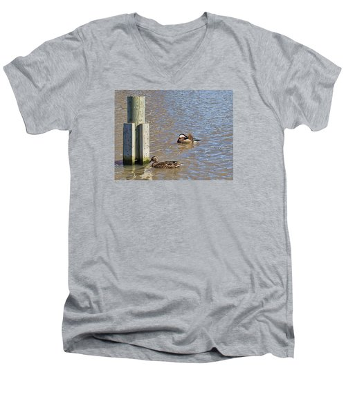 Men's V-Neck T-Shirt featuring the photograph who is who by Leif Sohlman- by Leif Sohlman