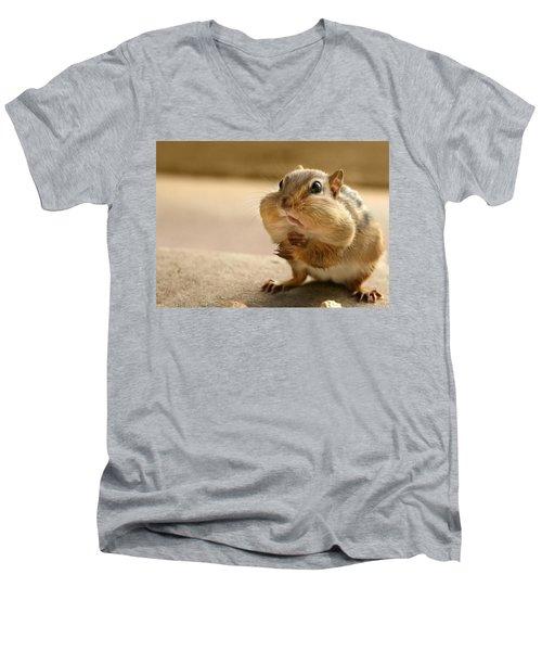Who Me Men's V-Neck T-Shirt by Lori Deiter