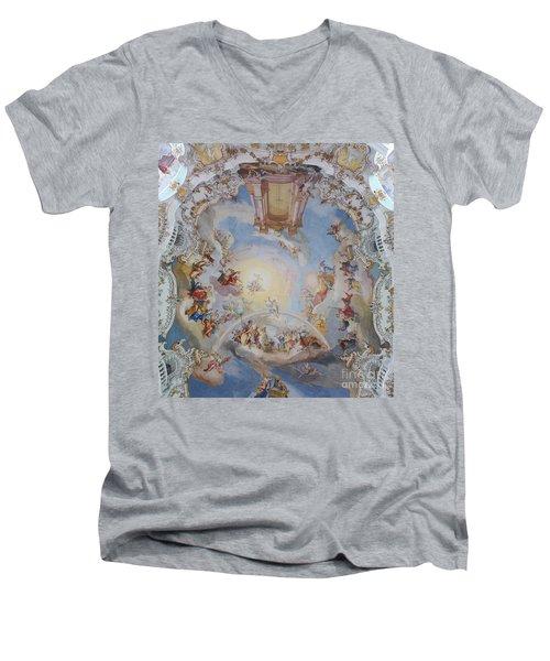 Men's V-Neck T-Shirt featuring the photograph Wies Pilgrimage Church Bavaria Fresko by Rudi Prott