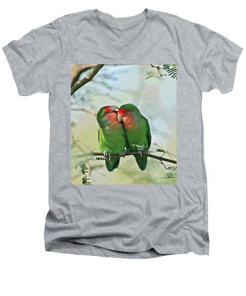 Wild Peach Face Love Bird Whispers Men's V-Neck T-Shirt