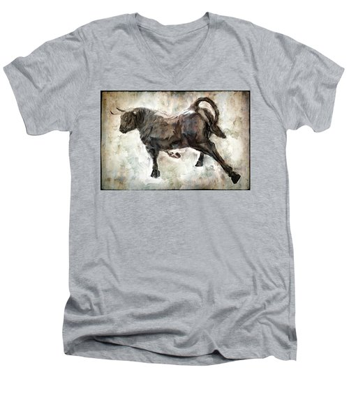 Wild Raging Bull Men's V-Neck T-Shirt by Daniel Hagerman