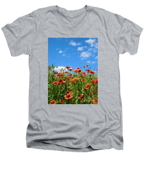 Men's V-Neck T-Shirt featuring the photograph Wild Red Daisies #5 by Robert ONeil