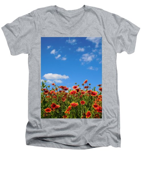Men's V-Neck T-Shirt featuring the photograph Wild Red Daisies #6 by Robert ONeil