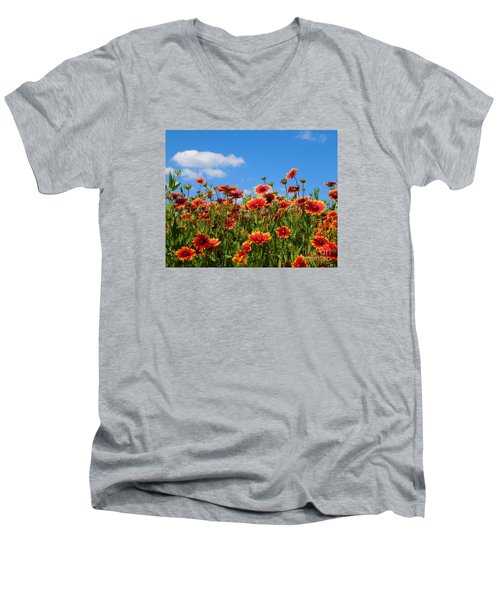 Men's V-Neck T-Shirt featuring the photograph Wild Red Daisies #7 by Robert ONeil