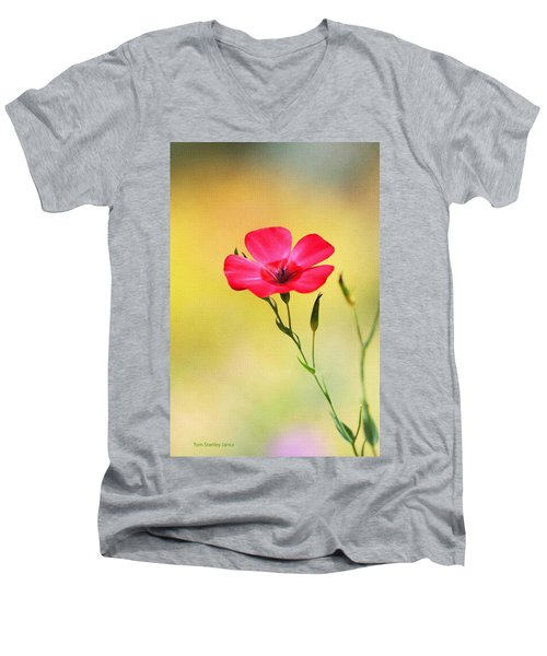 Wild Red Flower Men's V-Neck T-Shirt