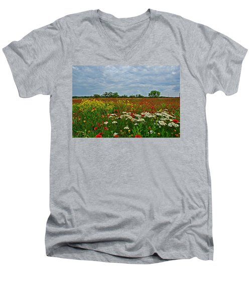 Wild Texas Men's V-Neck T-Shirt by Lynn Bauer