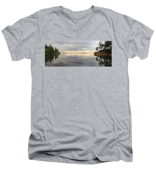 Men's V-Neck T-Shirt featuring the photograph Wildcat Cove Along Chuckanut Drive In Washington by JPLDesigns