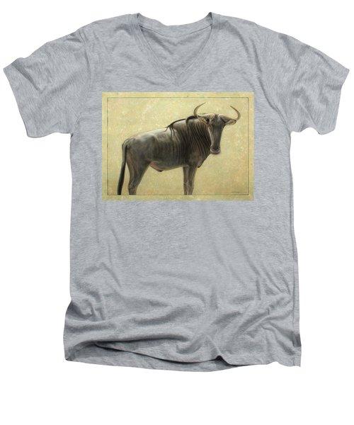 Wildebeest Men's V-Neck T-Shirt by James W Johnson