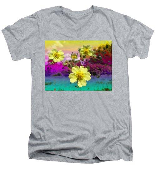 Wildflower Abstract Men's V-Neck T-Shirt
