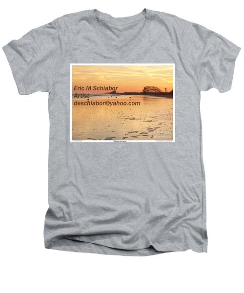 Wildwood Sunset Men's V-Neck T-Shirt by Eric  Schiabor