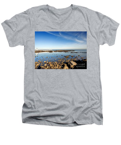 Men's V-Neck T-Shirt featuring the photograph Williamstown Beach by Yew Kwang
