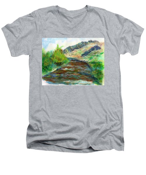 Willow Creek In Spring Men's V-Neck T-Shirt by C Sitton
