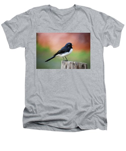 Willy Wagtail Austalian Bird Painting Men's V-Neck T-Shirt