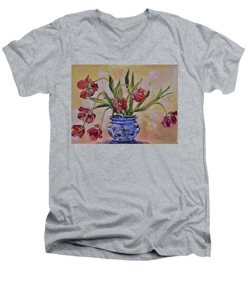 Wilting Tulips Men's V-Neck T-Shirt by Donna Tuten