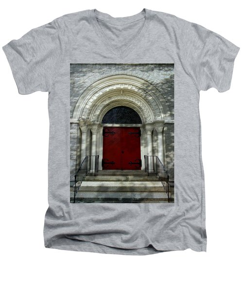 Men's V-Neck T-Shirt featuring the photograph Winchester Church by Joseph Skompski