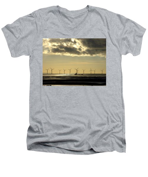 Wind Farm At Sunset Men's V-Neck T-Shirt
