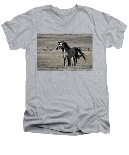 Windblown Men's V-Neck T-Shirt by Wes and Dotty Weber