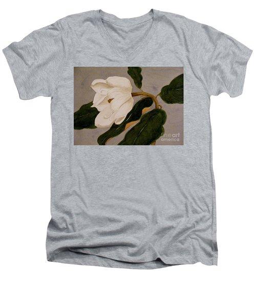 Windblown Magnolia Men's V-Neck T-Shirt by Nancy Kane Chapman