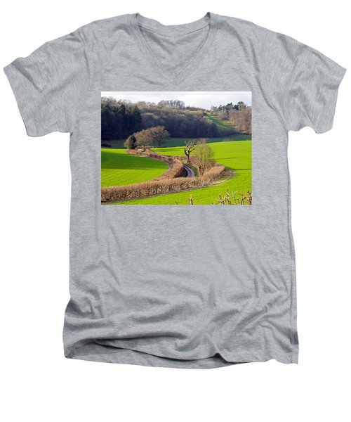 Winding Country Lane Men's V-Neck T-Shirt by Tony Murtagh